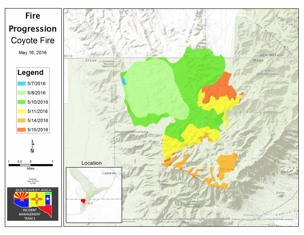 Coyote Fire map May 16, 2016