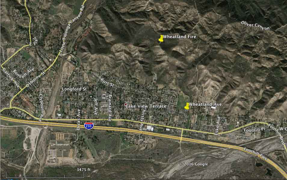California: Wheatland Fire near Lake View Terrace