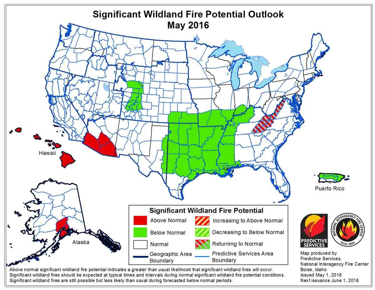 Wildfire potential, May through July