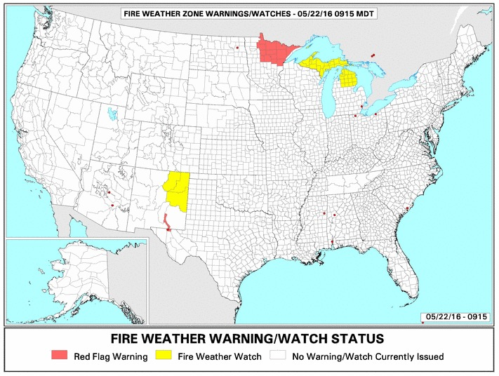 wildfire Red Flag Warnings, May 22, 2016