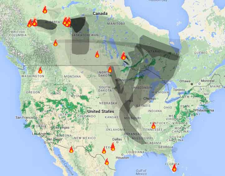 Smoke from Alberta fires migrates into the United States