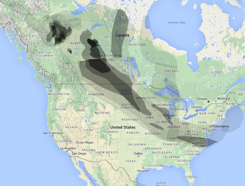 Wildfire Smoke Map May 16, 2016