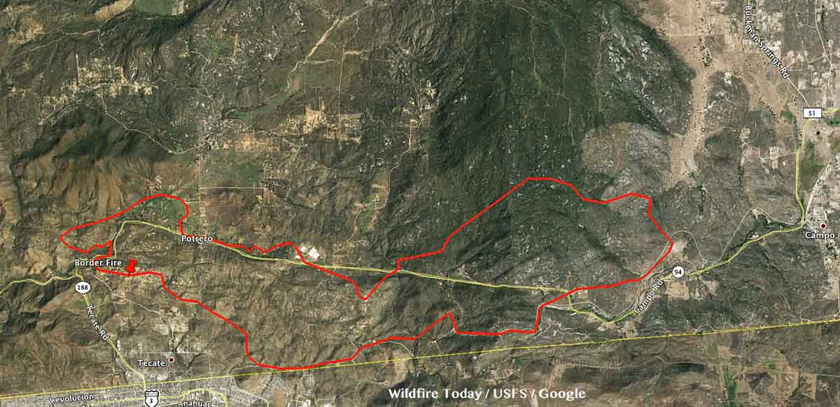Border Fire perimeter map