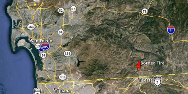 Border fire map