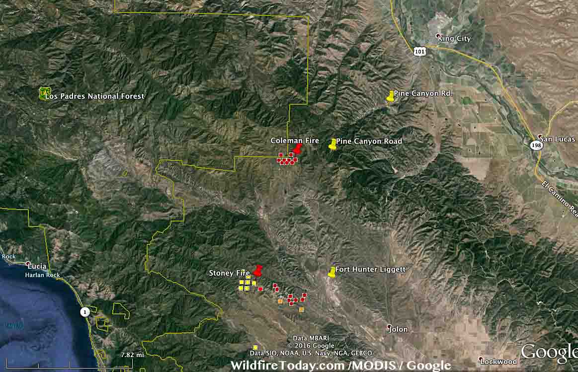 California Coleman Fire Southwest Of King City  Wildfire Today - Us national forest fire map