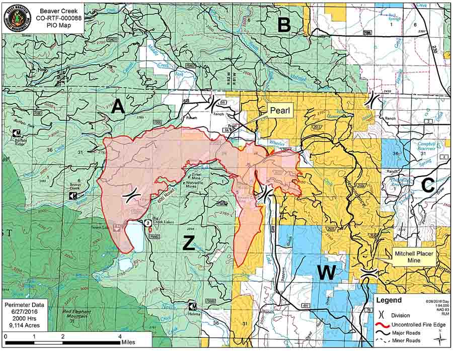 Map Beaver Fire June 28, 2016