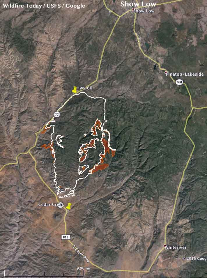 Show Low Fire Map | woestenhoeve Cedar Fire Map on