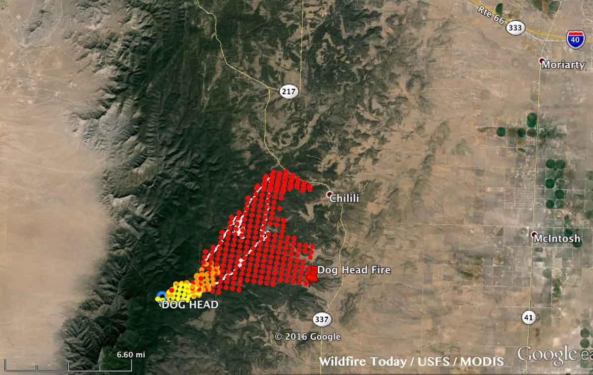 Dog Head Fire continues to spread to the east near Chilili, New ...