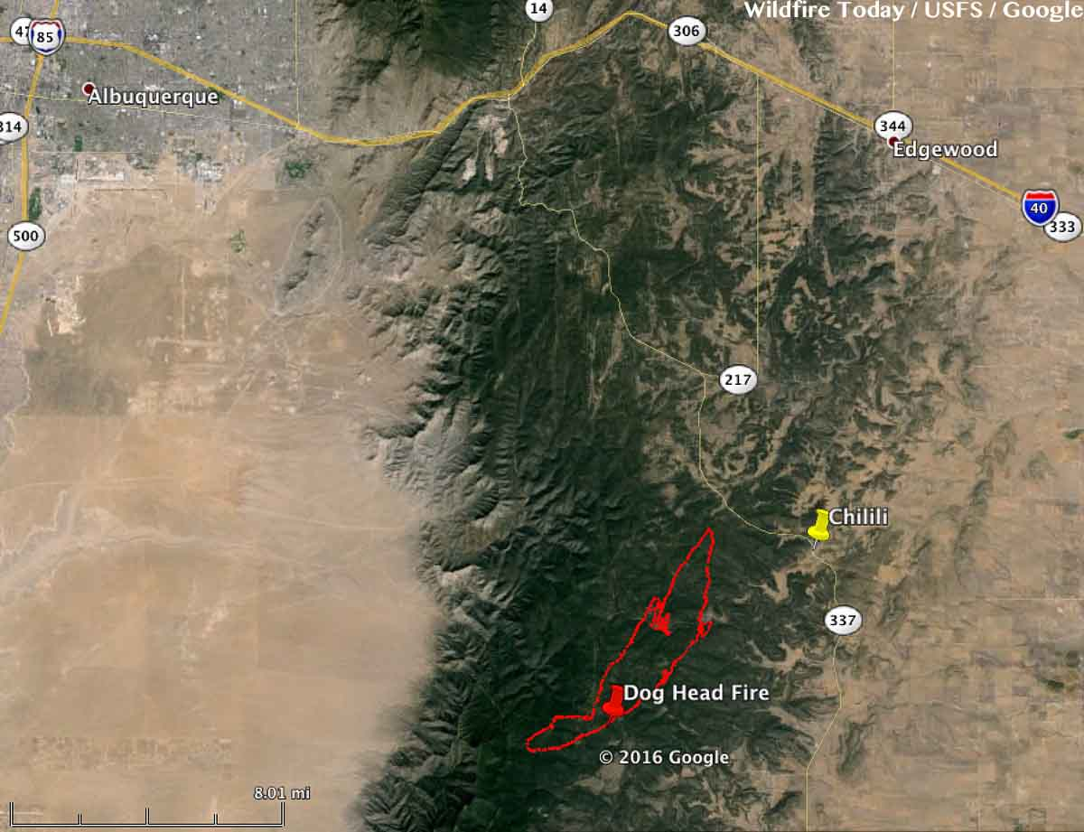 Map Dog Head Fire 9 pm MDT June 15, 2016 - Wildfire Today