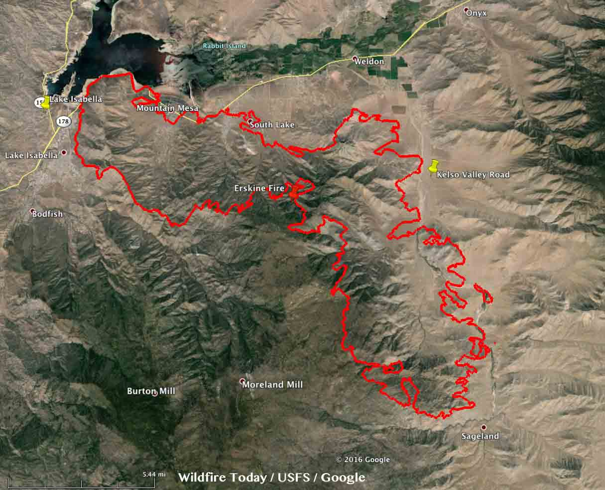 Lake Isabella Fire Map.Map Erskine Fire 9 Pm Pdt June 24 2016 Wildfire Today