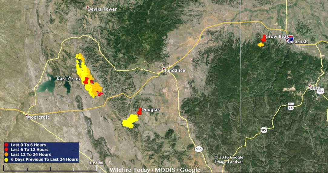 Map Kara Creek Crow Peak Fires 246 Am Mdt June 26 2016 Wildfire