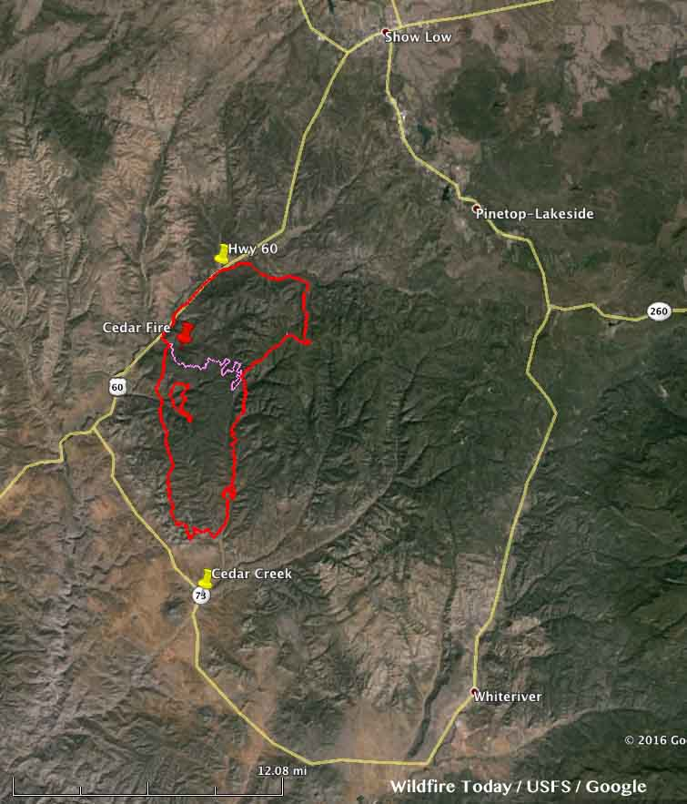Cedar Fire Near Show Low Arizona Wildfire Today - Cedar fire map