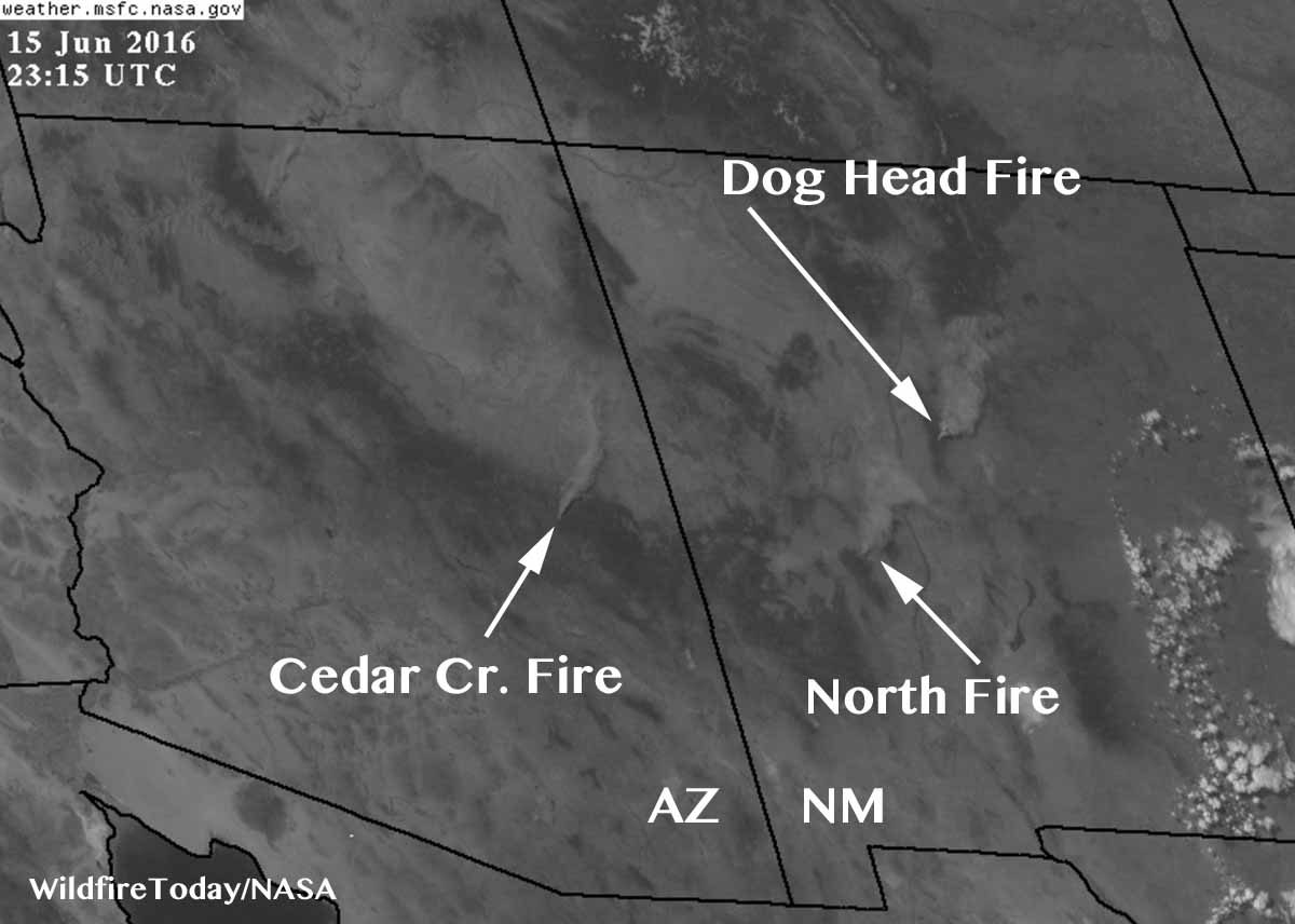 Satellite photo shows three large columns of smoke in Arizona & New Mexico