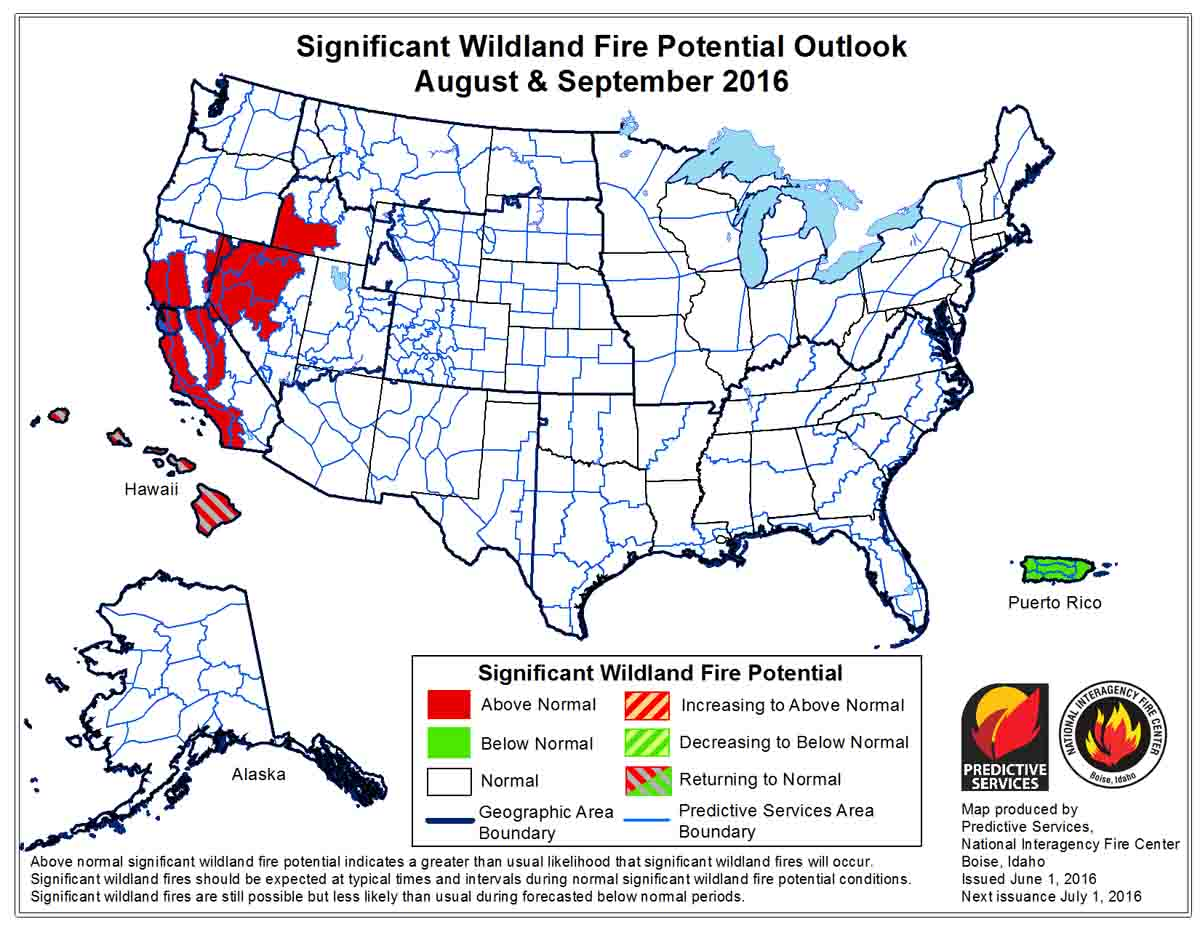 Wildfire Potential Aug-Sep 2016