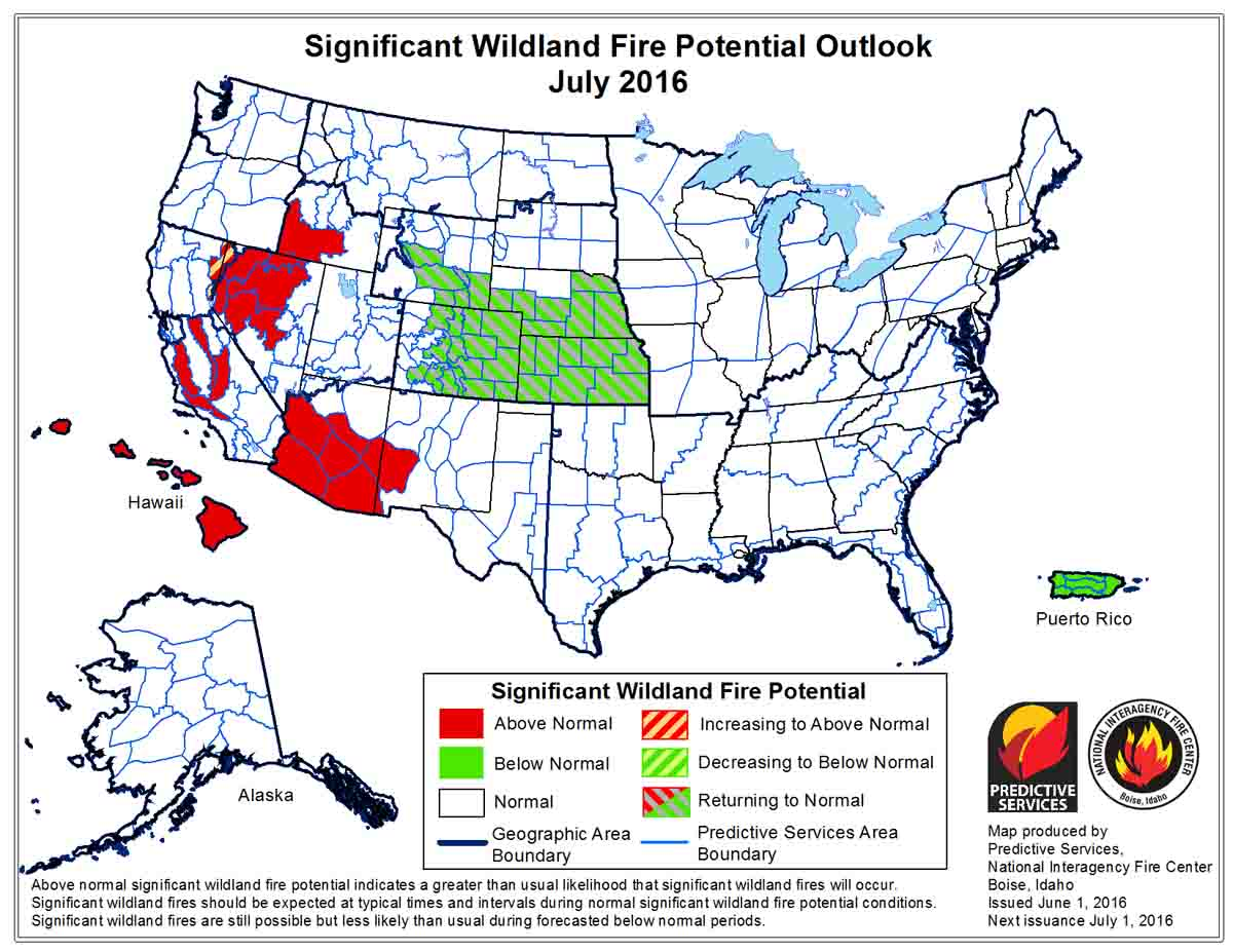Wildfire Potential July 2016