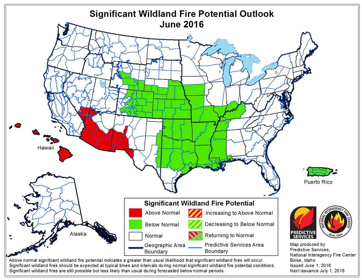 Wildfire potential, June through September