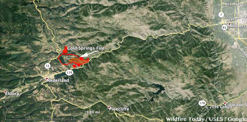 Cold Springs Fire map