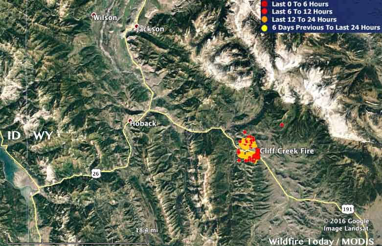 Map Cliff Creek Fire 154 pm MDT July 18, 2016   Wildfire Today