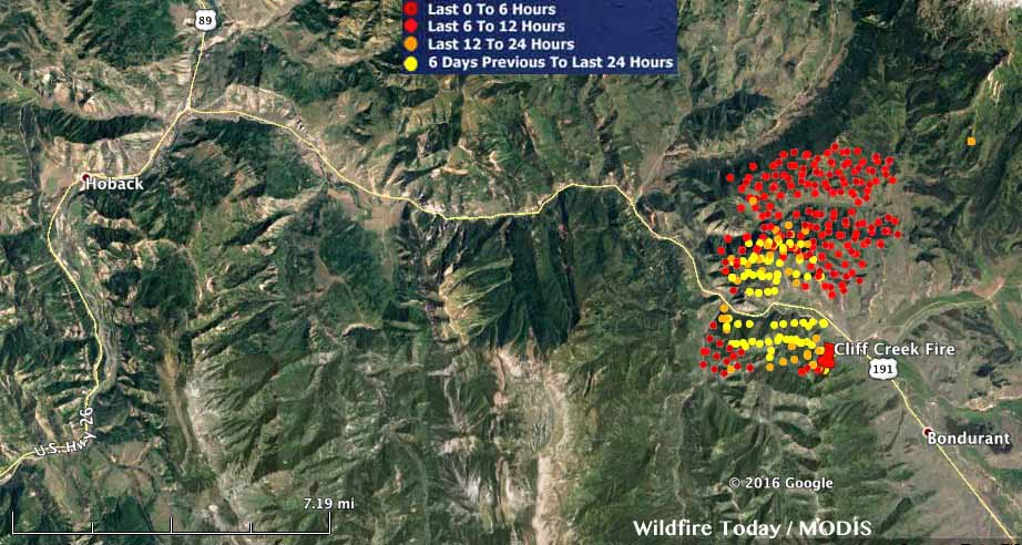 Map Cliff Creek Fire 354 Am Mdt July 19 2016 Wildfire Today