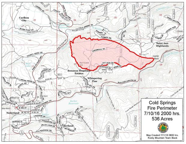 Map Cold Springs Fire 8 pm MDT July 10, 2016   Wildfire Today