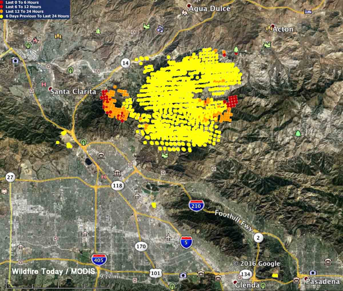 sand fire to be declared local emergency for la county  - map sand fire