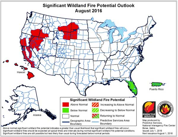 wildfire potential August 2016