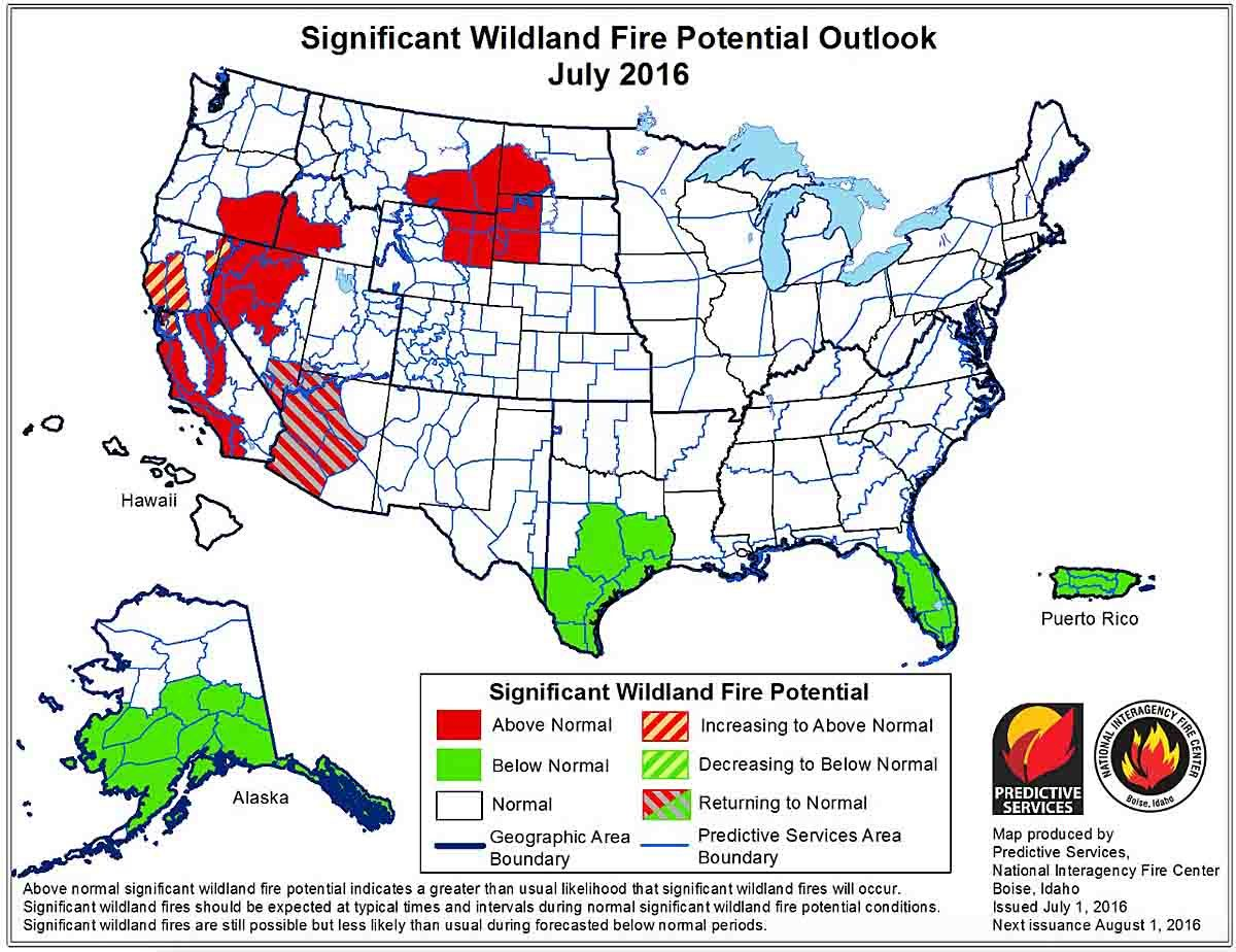 Wildland fire potential, July through October