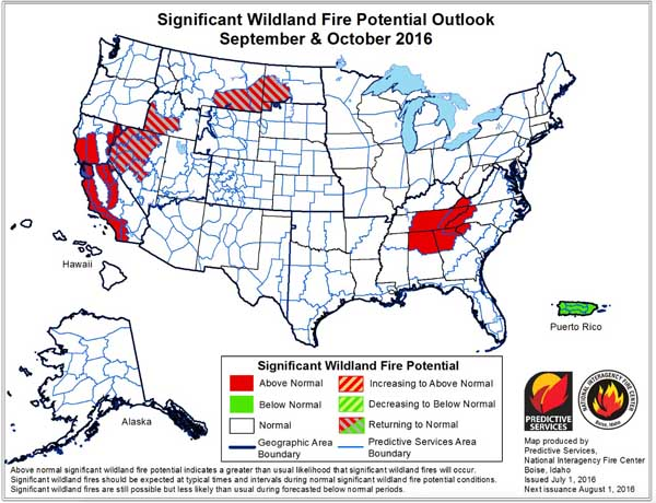 wildfire potential Sept and Oct 2016