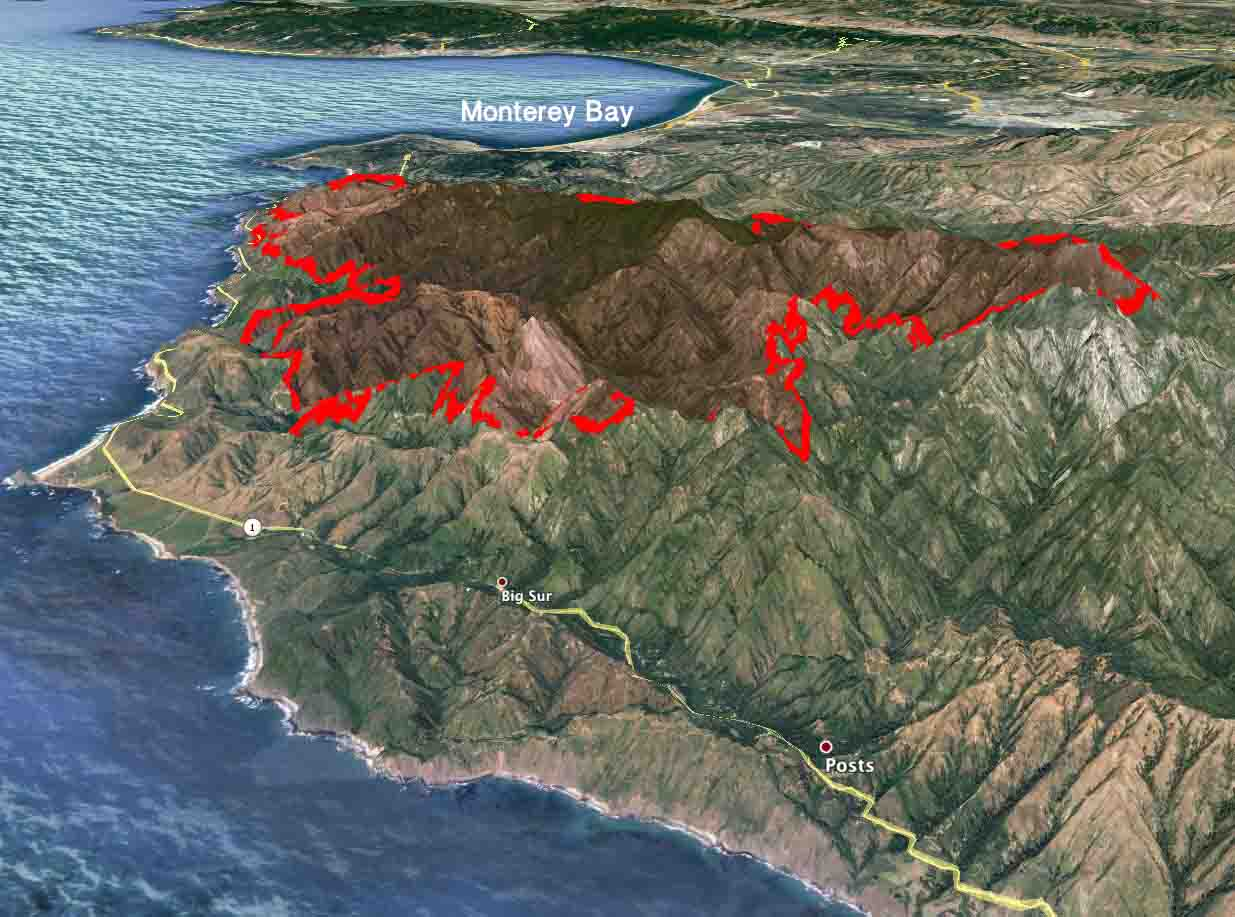 3 D Map of Soberanes Fire 1 am PDT August 7, 2016   Wildfire Today