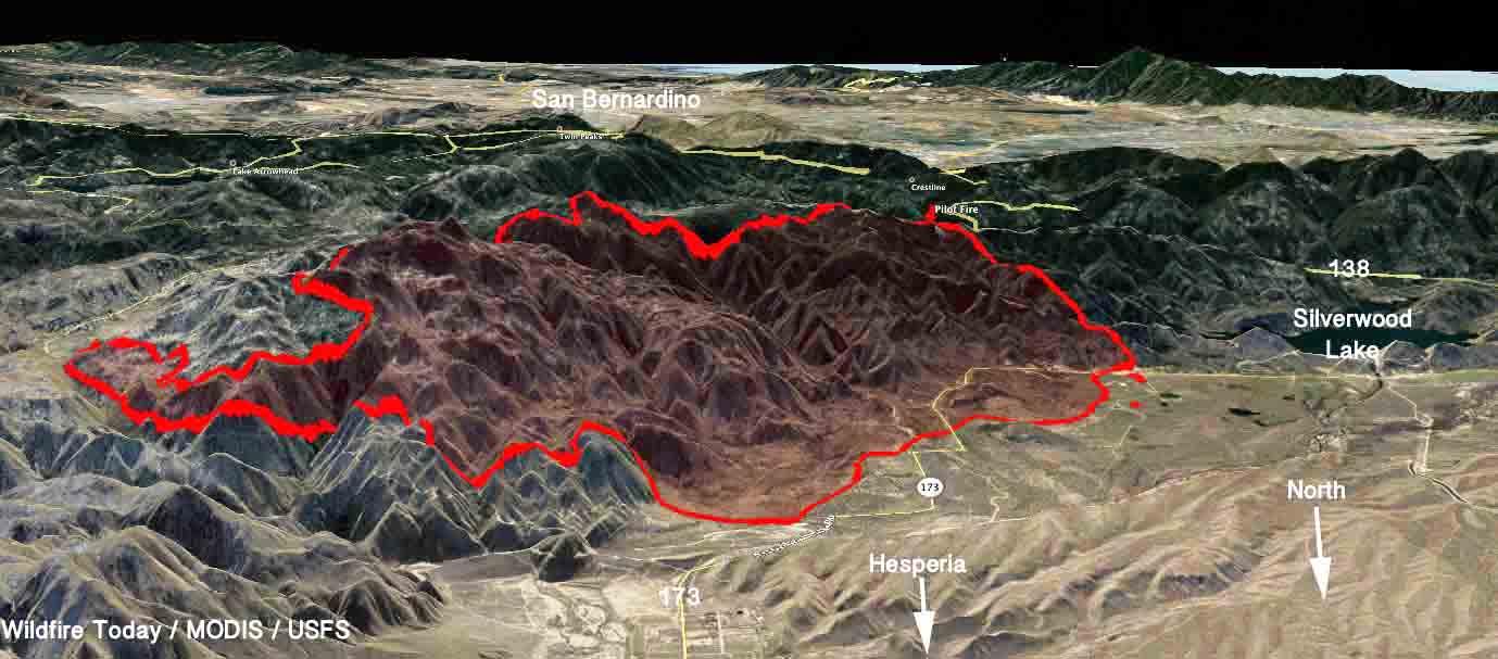 3-D map of the Pilot Fire