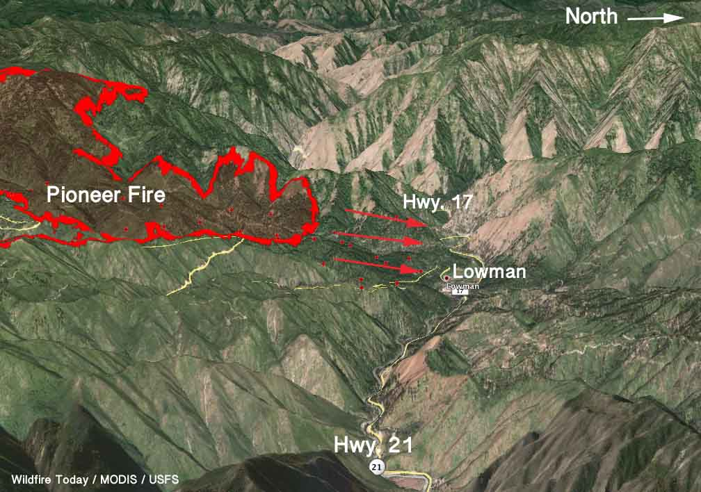Pioneer Mountains Idaho Map.3 D Map Pioneer Fire 3 Pm Mdt August 5 2016 Copy Wildfire Today
