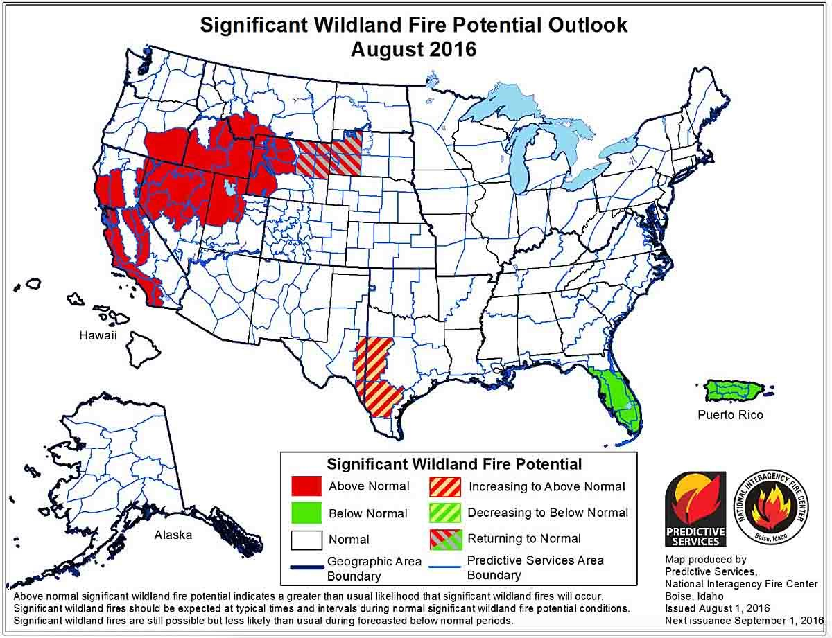 Wildland fire potential, August through November