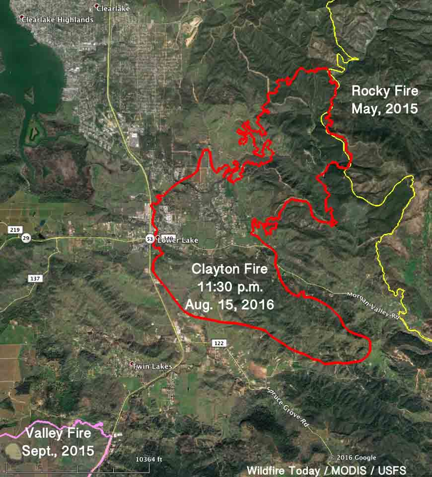 Map Clayton Fire 1130 pm Aug 15, 2016   Wildfire Today