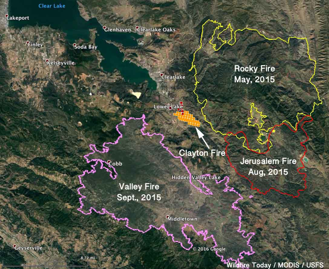 Map, Clayton Fire 230 pm PDT August 14, 2016   Wildfire Today