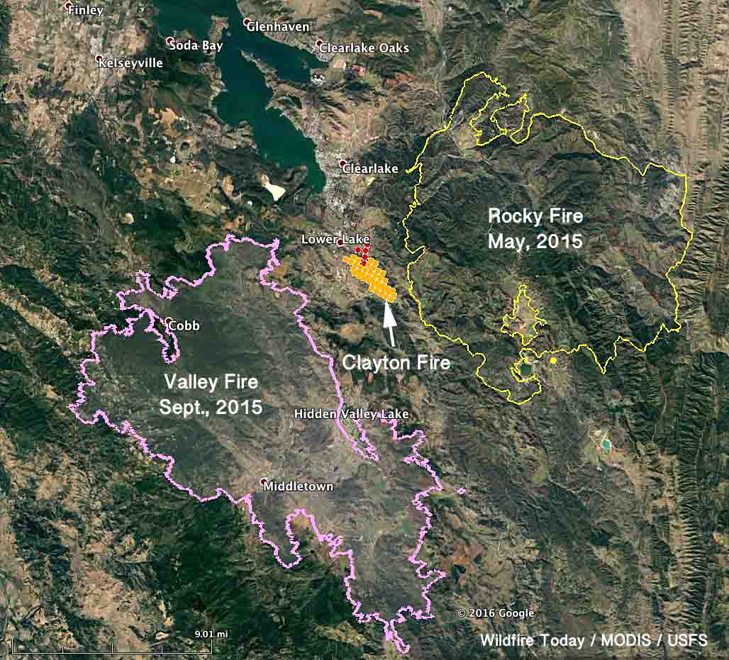 Map Clayton Fire 230 pm PDT August 14, 2016   Wildfire Today