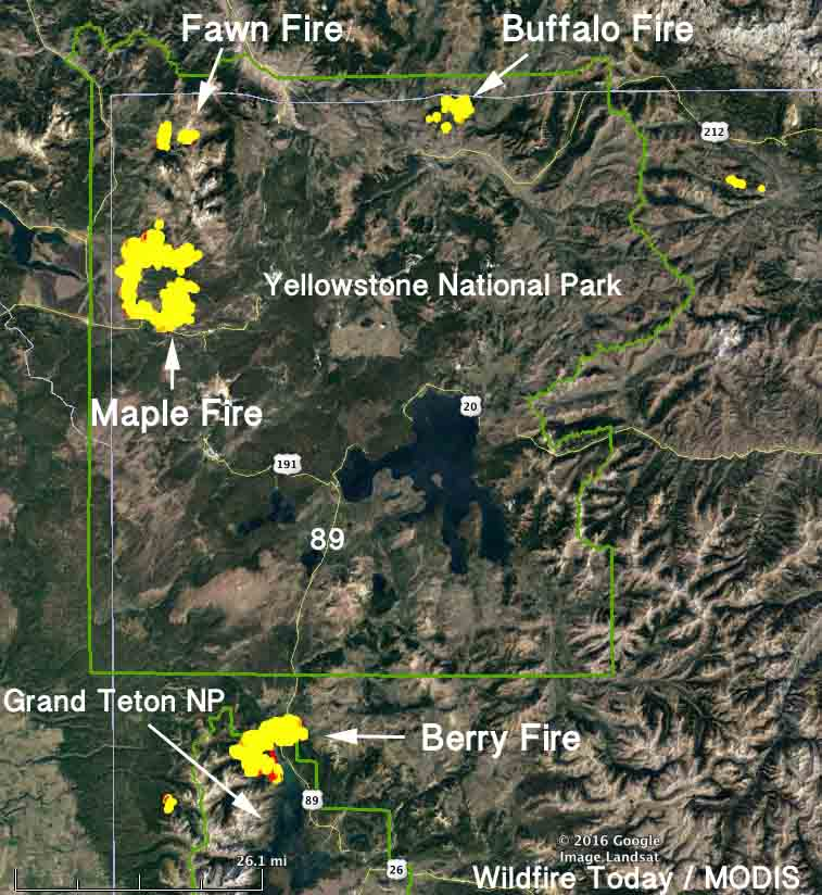 map Fires in Yellowstone and Grand Teton National Parks
