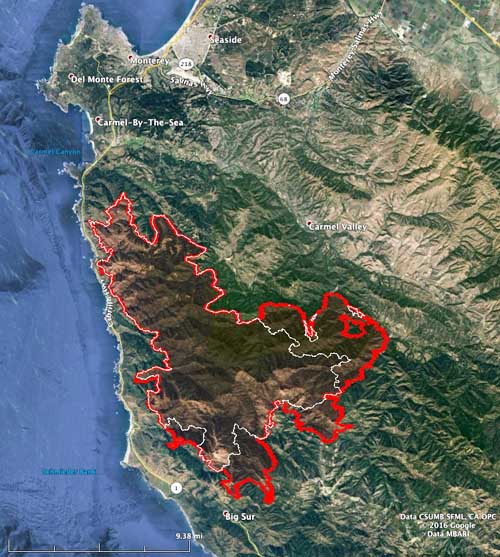Map of the Soberanes Fire. The white line was the perimeter at 2 a.m. PDT on August 2. The Red line was the perimeter at 1 a.m. PDT August 7, 2016. MODIS, Google, USFS, Wildfire Today