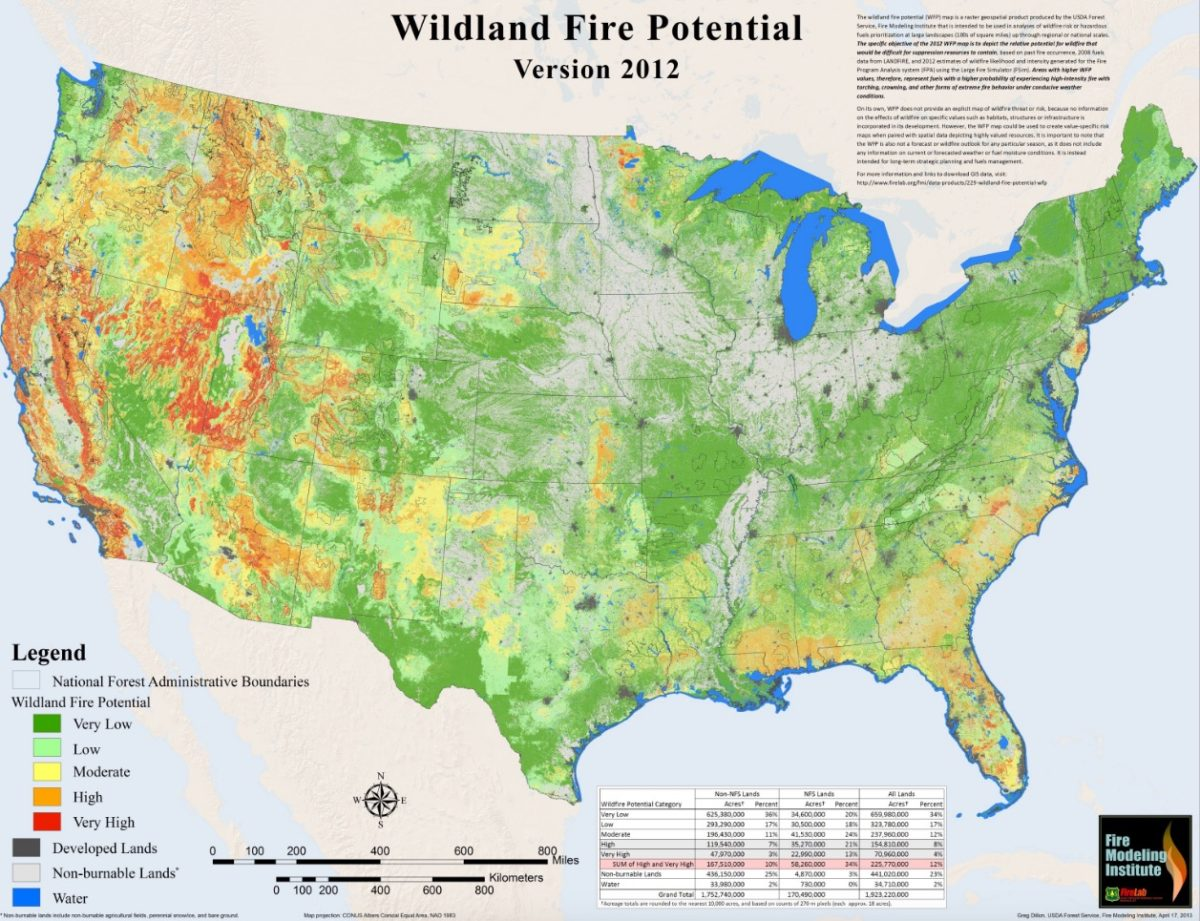 Wildland fire potential in the lower 48 states