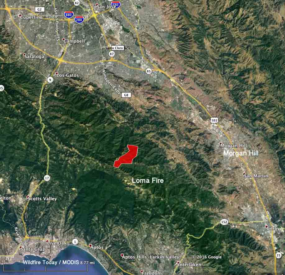 map Loma Fire
