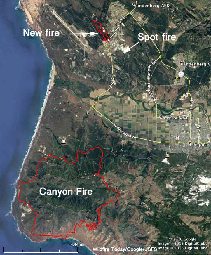 Fires California Map >> Canyon Fire on Vandenberg Air Force Base slows; new fire burns 200+ acres on the base - Wildfire ...