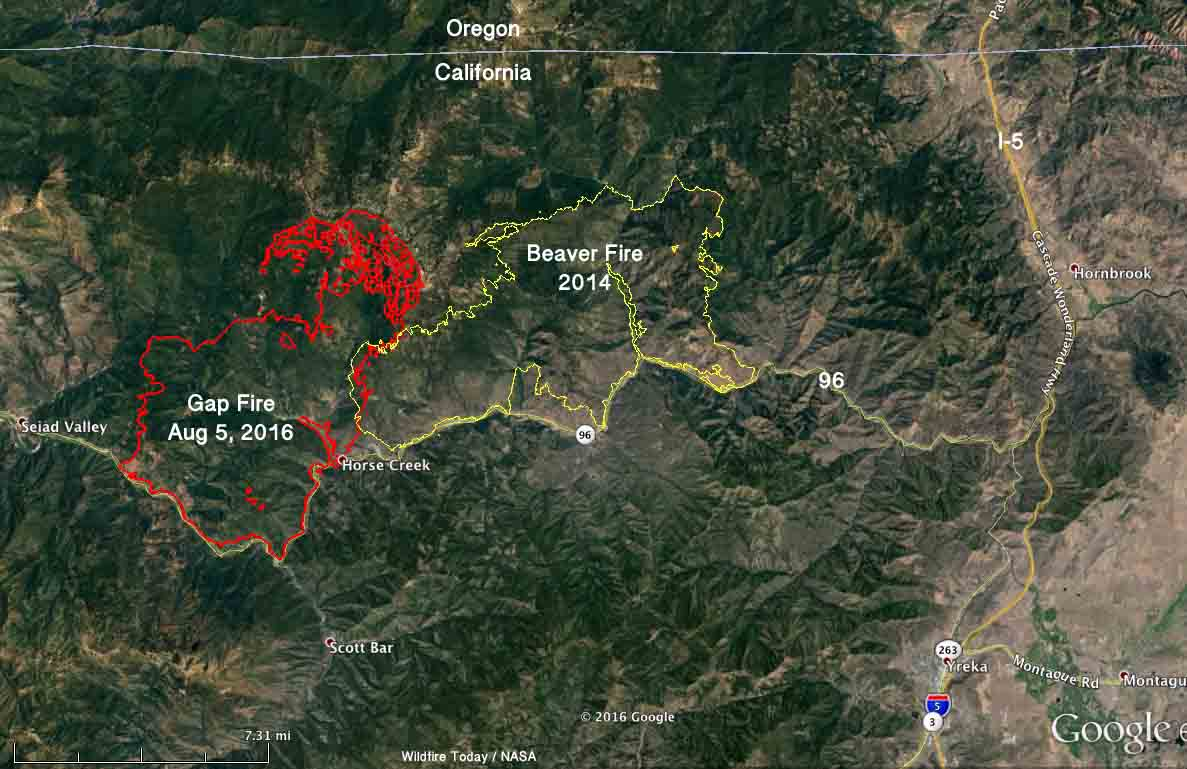 map Gap Fire Beaver California