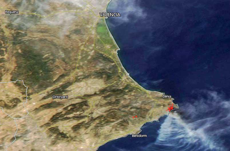 map fire Javea Spain