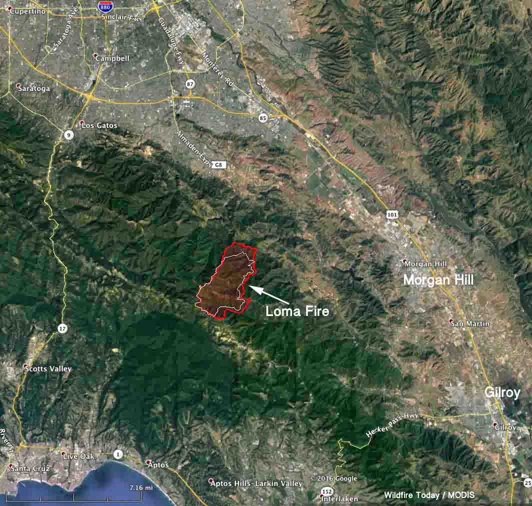 Santa Cruz Mountain Fire Map.Loma Fire Causes Evacuations South Of San Jose Calif Wildfire Today