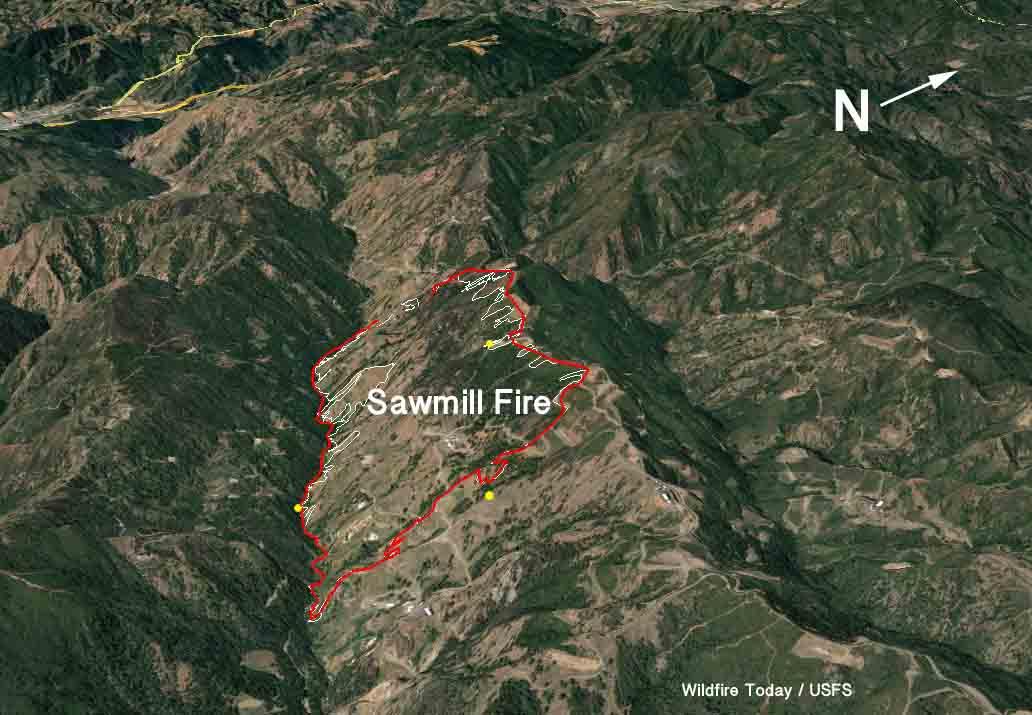 3-D map Sawmill Fire