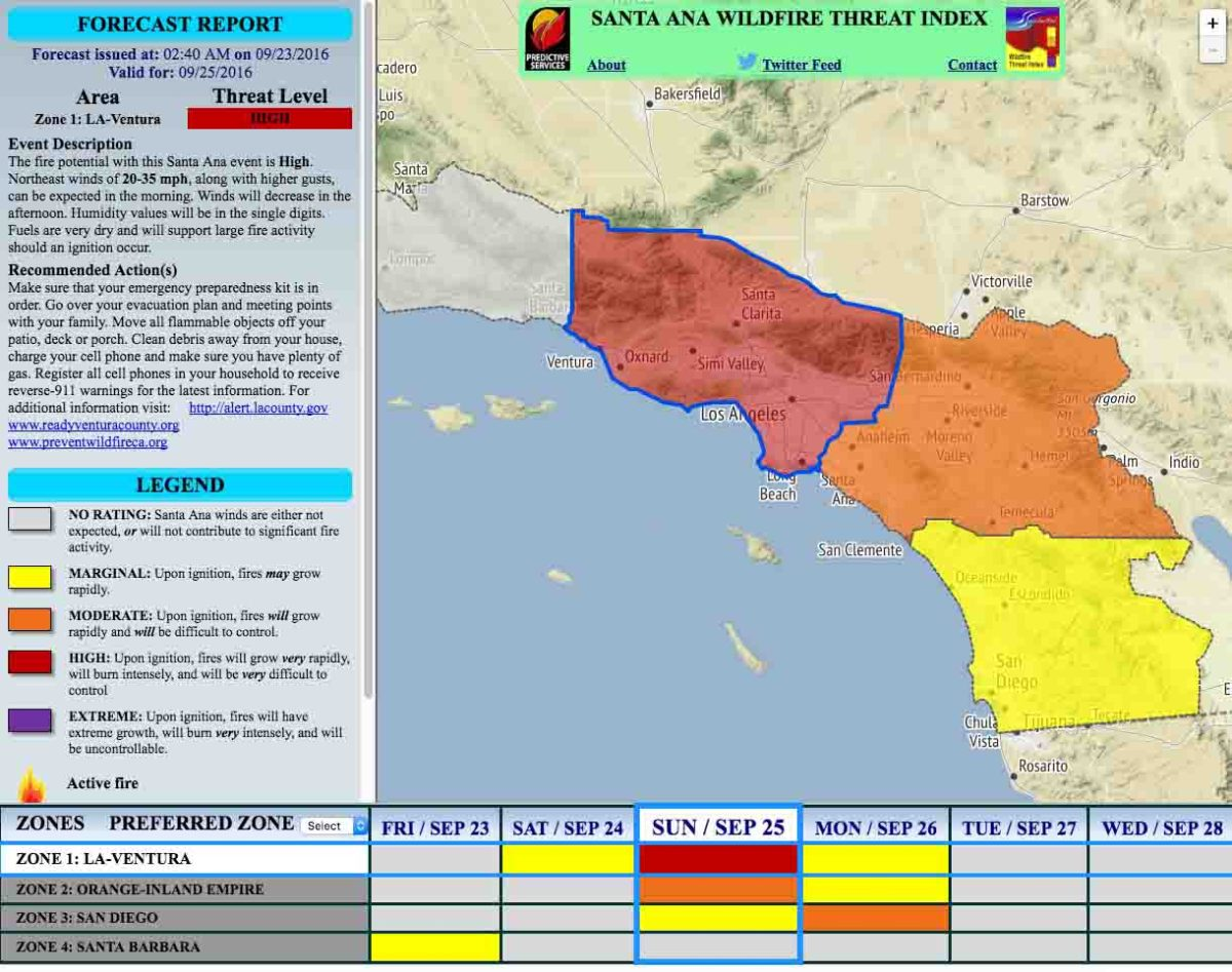 Santa Ana winds expected in southern California through the weekend