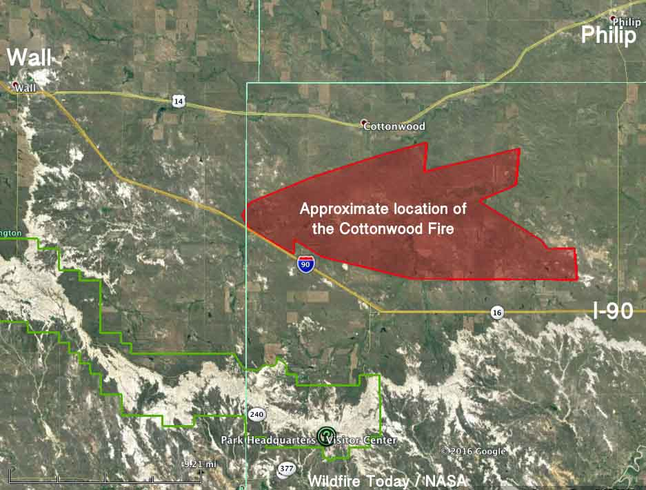 Cottonwood Fire map