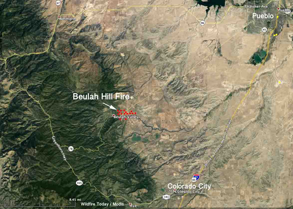 map beulah hill fire 248 pm mdt oct 3 2016   Wildfire Today