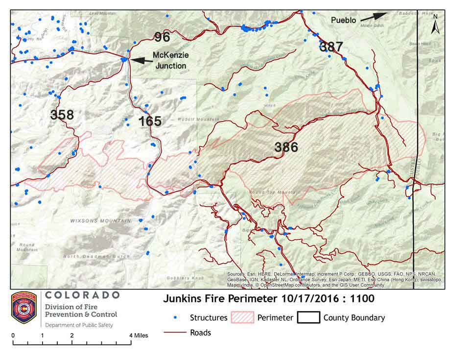 map Junkins fire