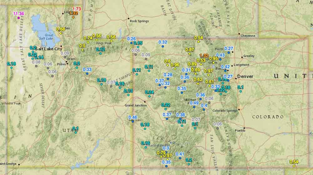 Rainfall last 2 weeks Utah Colorado