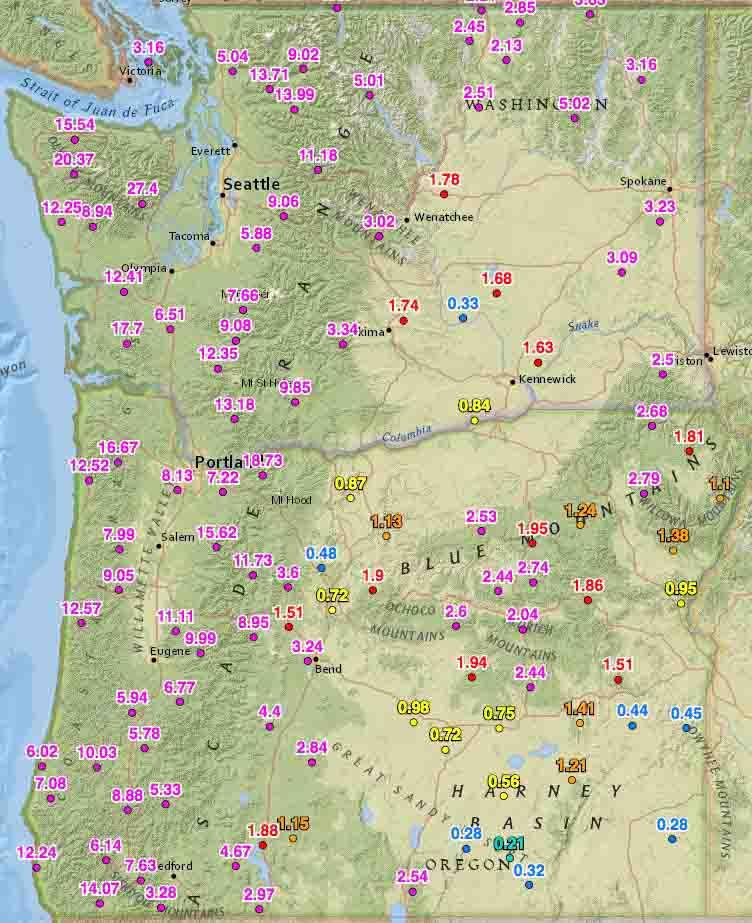 Rainfall last 2 weeks washington oregon